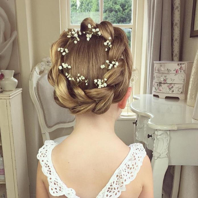Encircling-Braid-Hairstyle Most Cutest Flower Girl Hairstyles