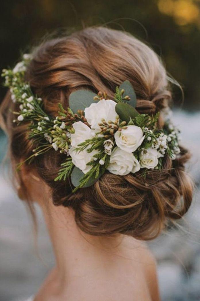 Floral-Bun-Hairstyle Ultra Modern Wedding Hairstyles 2020