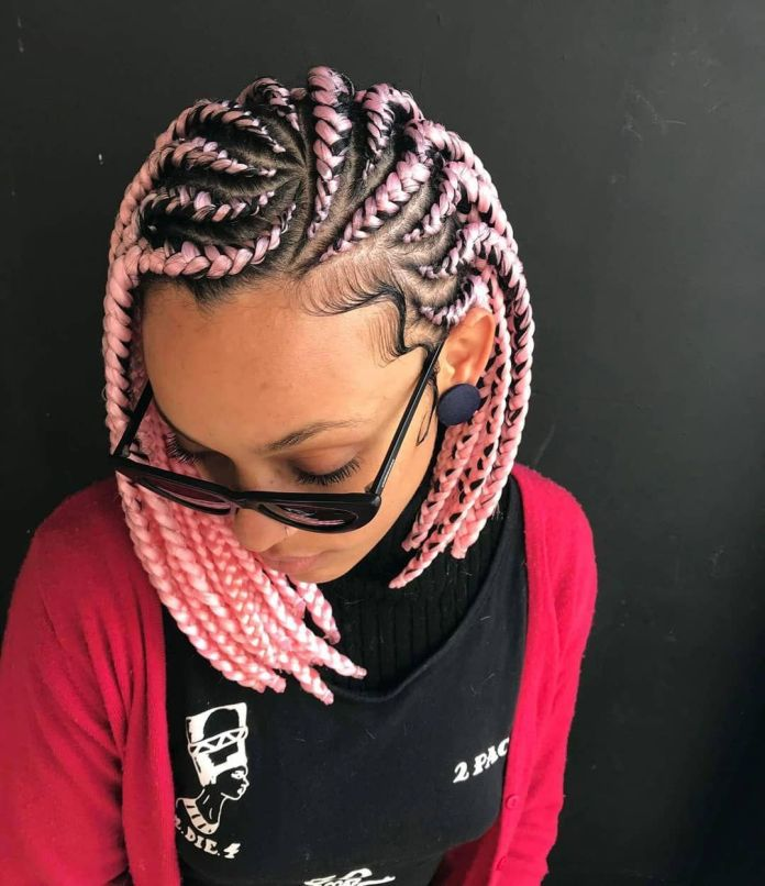 Fluorescent-Pink-Bob Natural Hair Braids to Enhance Your Beauty