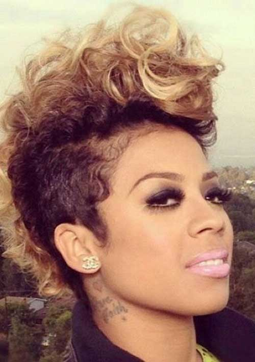 Keyshia-Cole's-Mohawk-Pixie-Hairstyle-with-Highlights Naturally Short Hairstyles for Beautiful Black Women