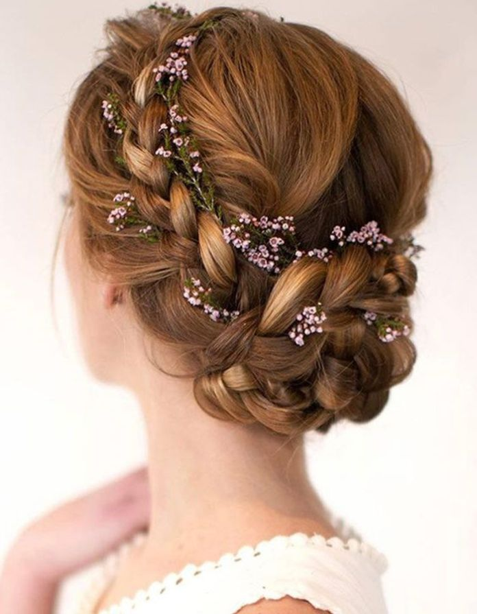 Lace-Braided-Hair-with-Floral-Accessories Braids Hairstyles 2020 for Ultra Stylish Looks