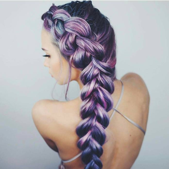 Long-Braided-Purple-Hair- Long Braided Hairstyles to Look Beautiful as Never Before
