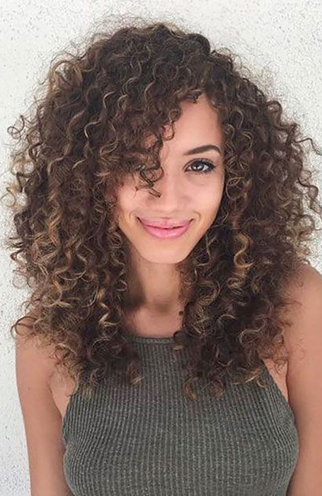 Long-Curly-Hair-with-Side-Bangs 12 Flattering Haircuts for Long Hair with Bangs