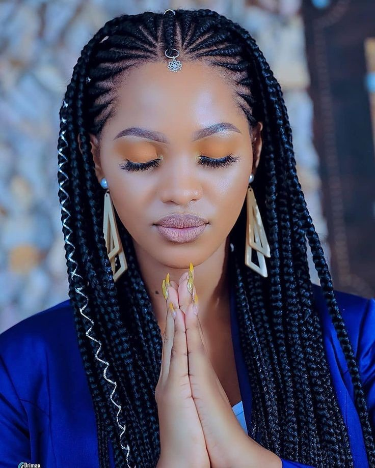 Long-Curvy-Braids-with-Accessories Braids Hairstyles 2020 for Ultra Stylish Looks