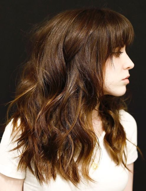 Long-Golden-Brown-Shag-with-a-Fringe 12 Flattering Haircuts for Long Hair with Bangs