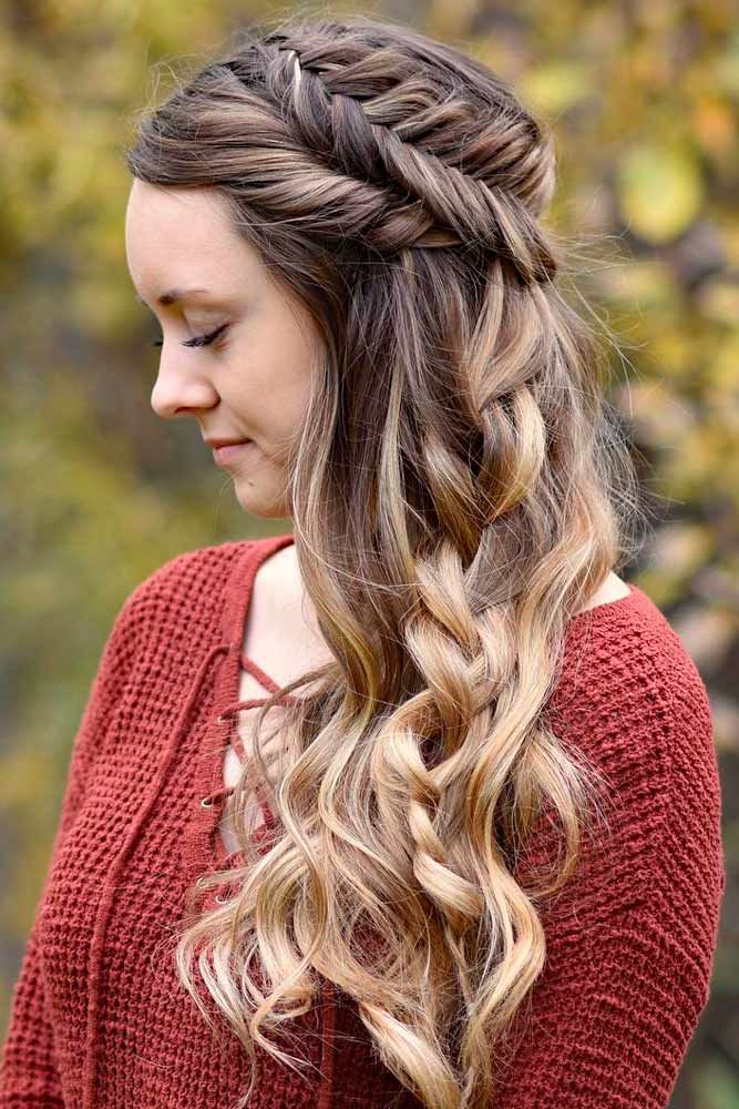 Medium-Length-Wavy-Hair-with-Dutch-Braids Braids Hairstyles 2020 for Ultra Stylish Looks