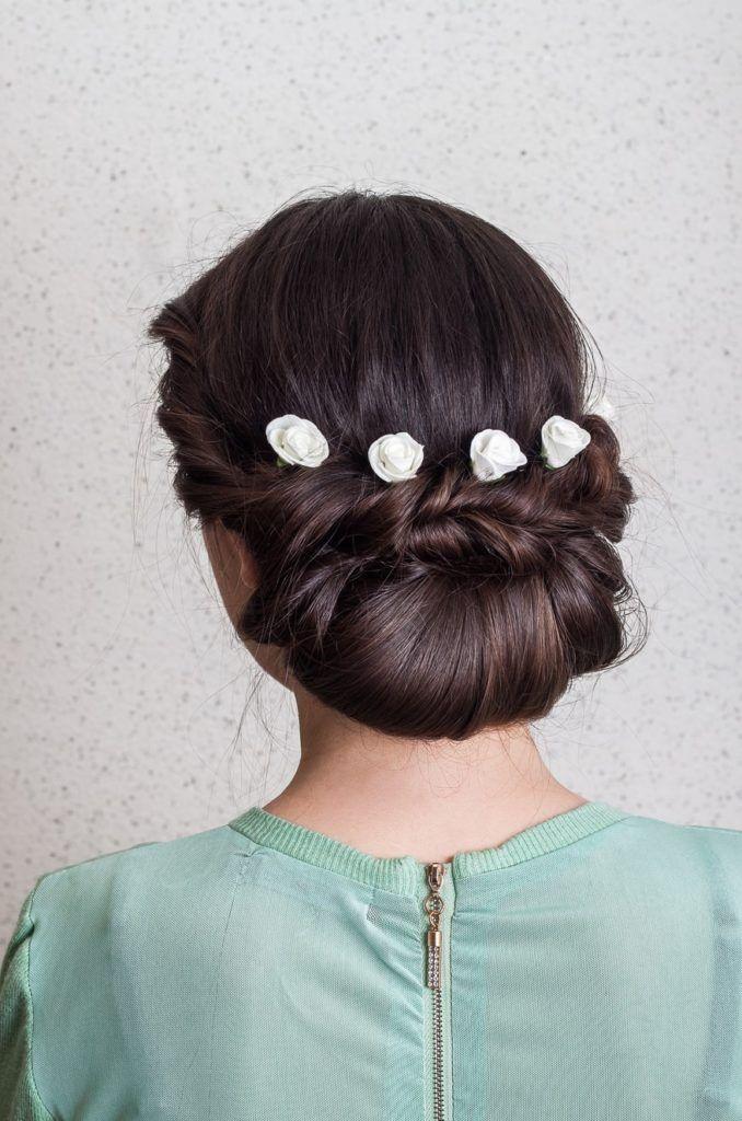 Neatly-Bun-Braid-Hairstyle Most Cutest Flower Girl Hairstyles