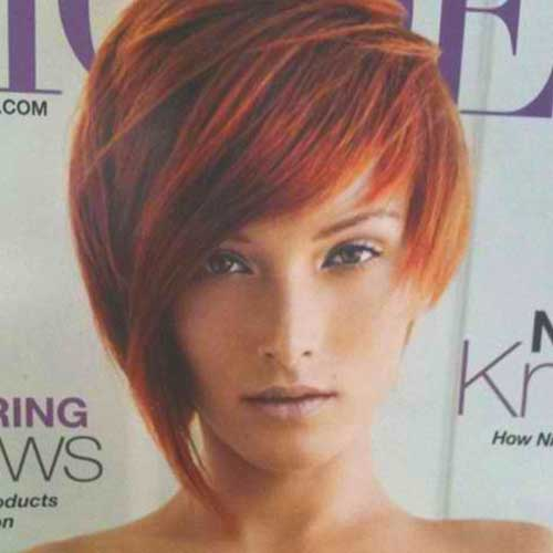Red-Short-Asymmetrical-Bob-Style-with-Thin-Bangs 20 Asymmetrical Bob with Bangs 2020
