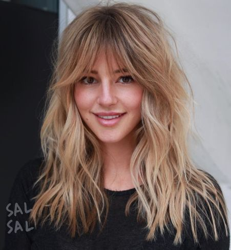 Shattered-Bronde-Shag-with-Bangs 12 Flattering Haircuts for Long Hair with Bangs