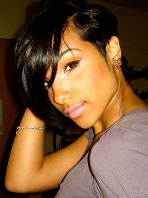 Short-Bob-Haircut-for-Black-Women-with-Long-Bangs Naturally Short Hairstyles for Beautiful Black Women