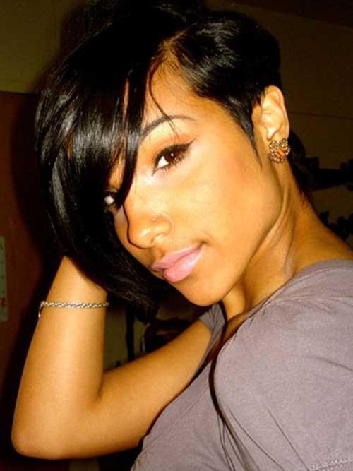 Short-Bob-Haircut-for-Black-Women-with-Long-Bangs Naturally Short Hairstyles for Beautiful Black Women