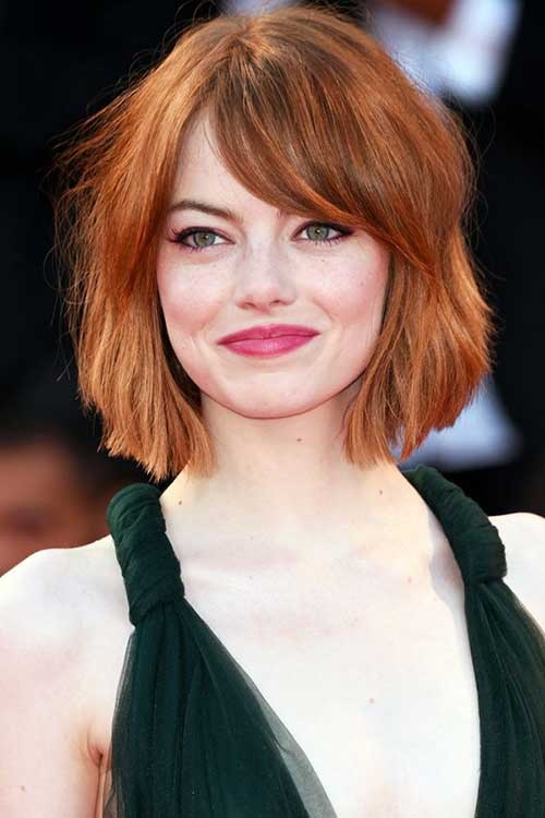 Short-Red-Messy-Bob Best Short Bobs for Ladies with Round Faces