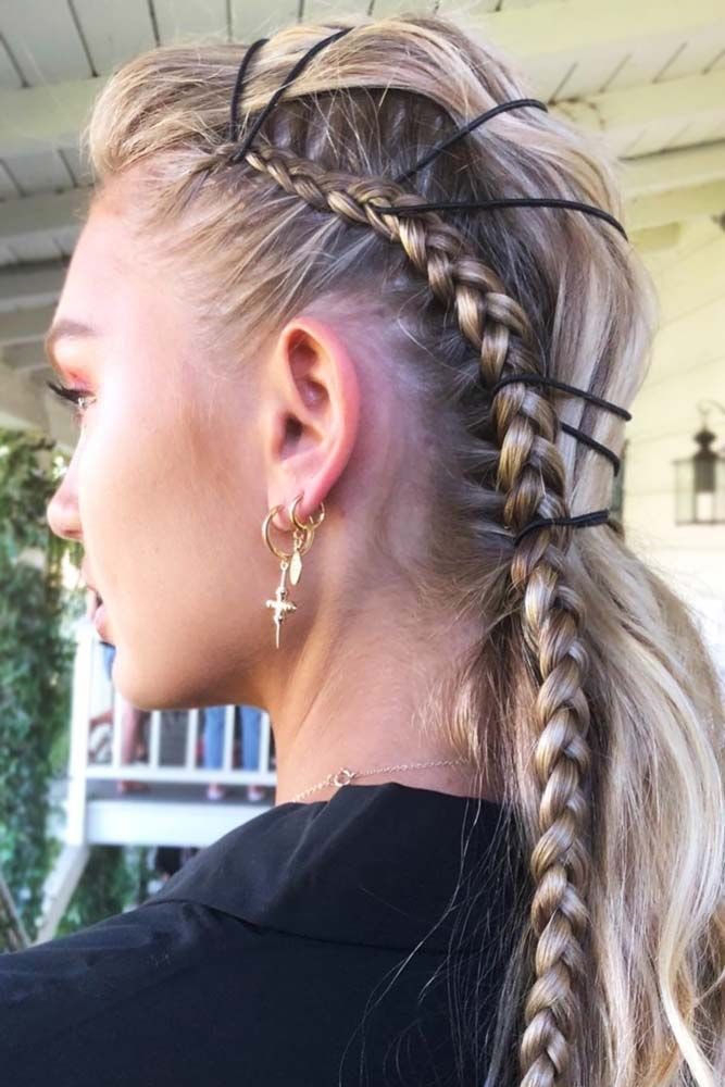 Side-Braids-with-Hair-Elastics Braids Hairstyles 2020 for Ultra Stylish Looks