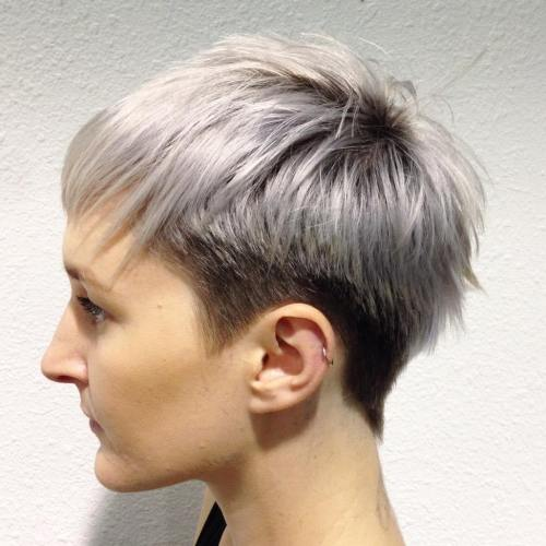 Silver-Hair-with-a-Jagged-Fringe 14 Ways to wear a Bowl Cut