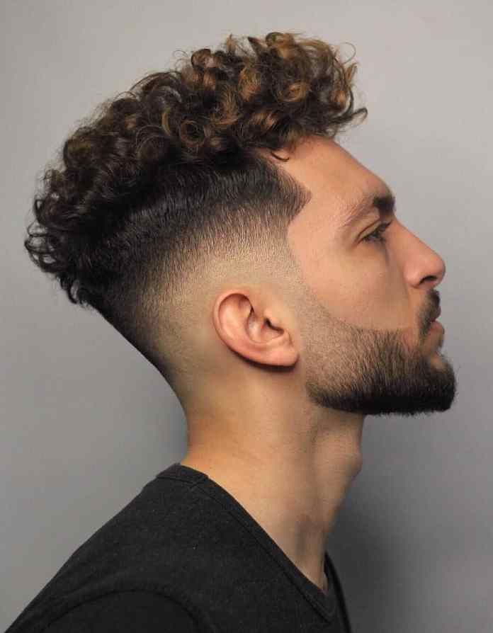 Temple-Fade-Cut-with-Curly-Top Most Trendy Looks of Short Fade Haircuts