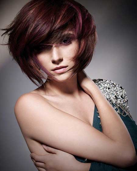 Thick-Bangs-with-Dark-Red-Layered-Bob Gorgeous Layered Cut Bob Hairstyles