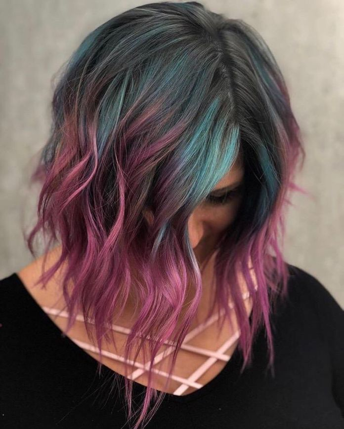Tri-Color-Blunt-Haircut Most Coolest Medium Hairstyles with Color