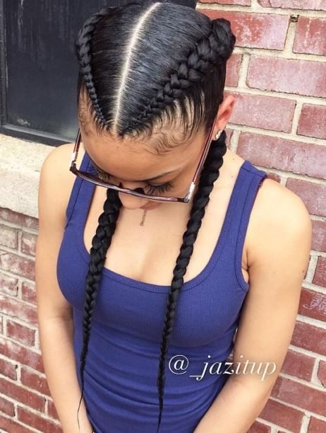 Two-Cornrow-Boxer-Braids 12 Stunning Black Braided Hairstyles 2020