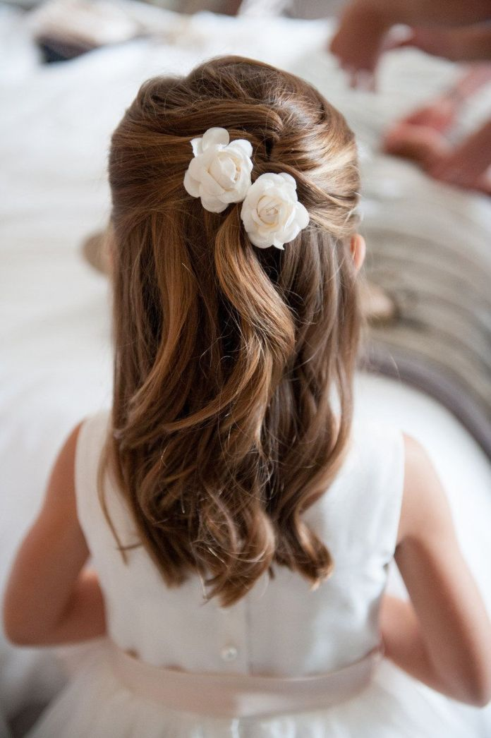 Waterfall-Hairstyle-with-Two-Simple-White-Rose Most Cutest Flower Girl Hairstyles