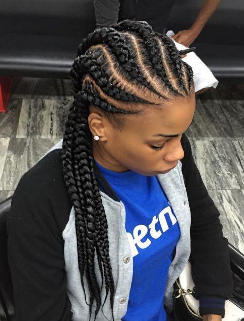 Wavy-Straight-Back-Braids 12 Stunning Black Braided Hairstyles 2020