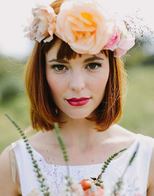 Wedding-Bob-with-Flower-Crown Best Wedding Bob Hairstyles You will Look Like Princess