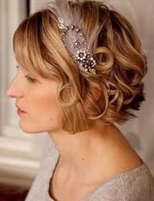 Wedding-Short-Curly-Bob-Cut-with-Headband Best Wedding Bob Hairstyles You will Look Like Princess
