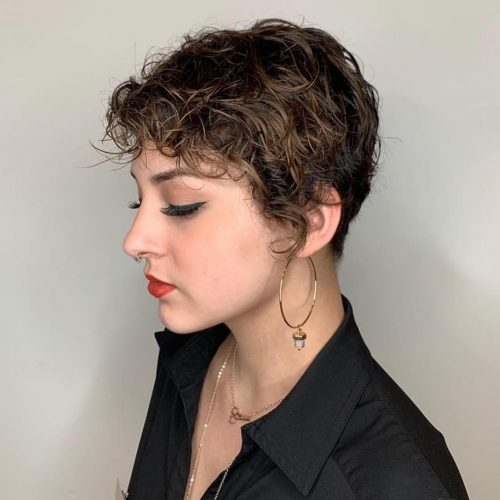 curly-side-swept-bangs 14 flattering and eye-catching hairstyles for short curly hair