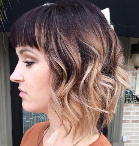 Bob-with-Bangs-and-Balayage-Ombre 14 Trendy Balayage Short Hairstyles
