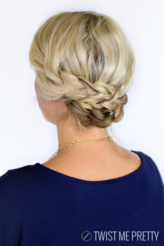 Bohemian-Braid-Updo 10 On-trend braided hairstyles for short hair