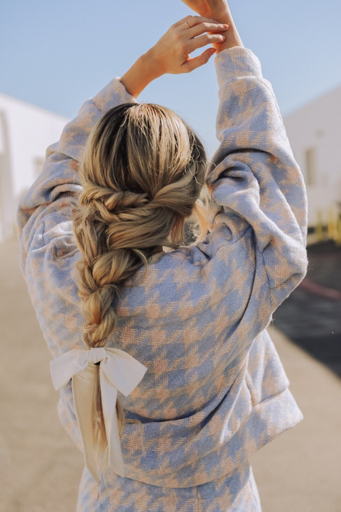 Collected-Hair-Braid-with-a-Bow 20 Blonde Hairstyles 2020 to Flaunt this Year