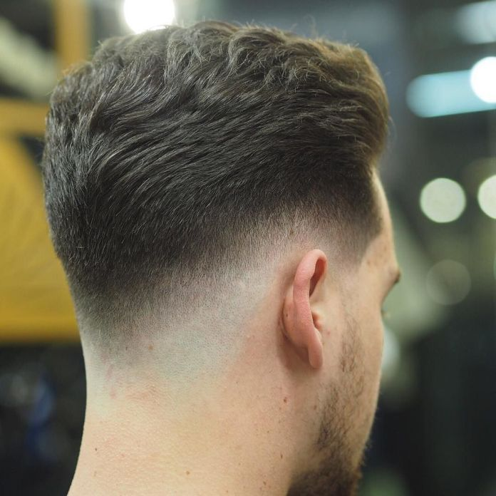 Drop-Fade-Haircut-with-V-Shaped-Neckline Drop Fade Haircut for an Ultimate Stylish Look