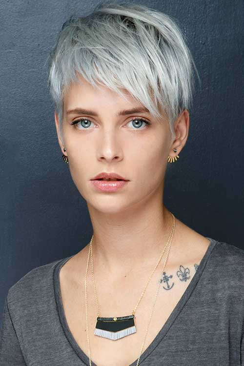 Grey-Layered-Pixie 20 Layered Short Haircuts for Women