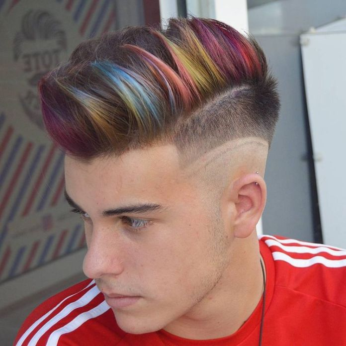 Multi-Colored-Side-Swept-Hair-for-Men 20 Hair Color for Men to Look Ultra Stylish