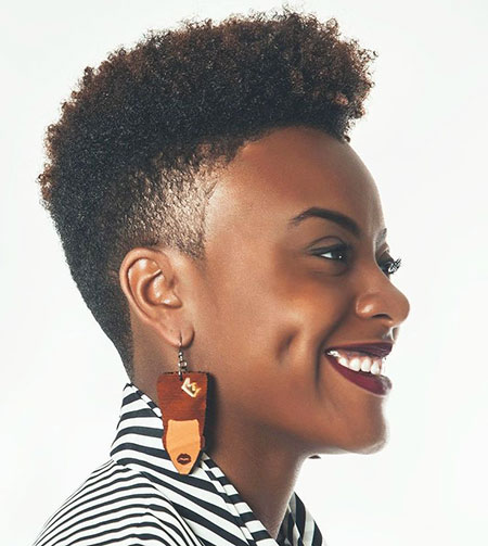 Side-Shaved 33 Short Curly Natural Hairstyles for Black Women