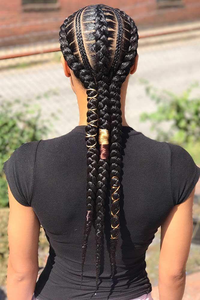 Stunning-Adorn-Black-Braids 25 Black Braided Hairstyles for Voguish Look