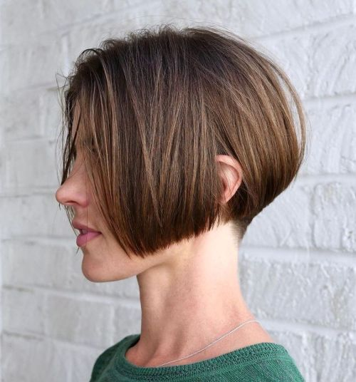 Undercut-Stacked-Bob 15 Stylish, Modern Undercut Bob Haircut in 2020