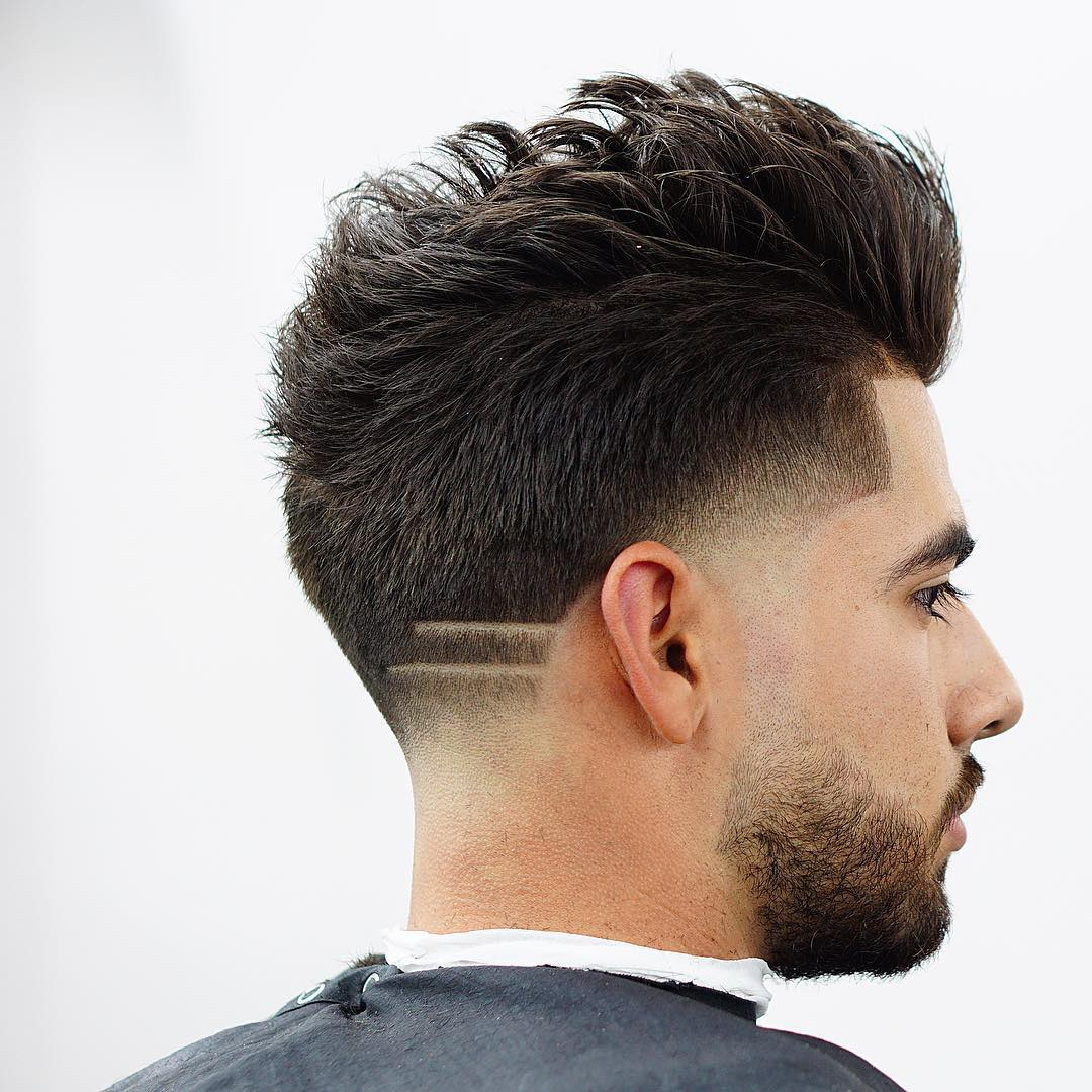 Upright-Wavy-Drop-Fade-Cut-with-Strikes Drop Fade Haircut for an Ultimate Stylish Look