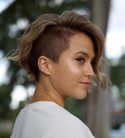 Wavy-Undercut-Bob 15 Stylish, Modern Undercut Bob Haircut in 2020