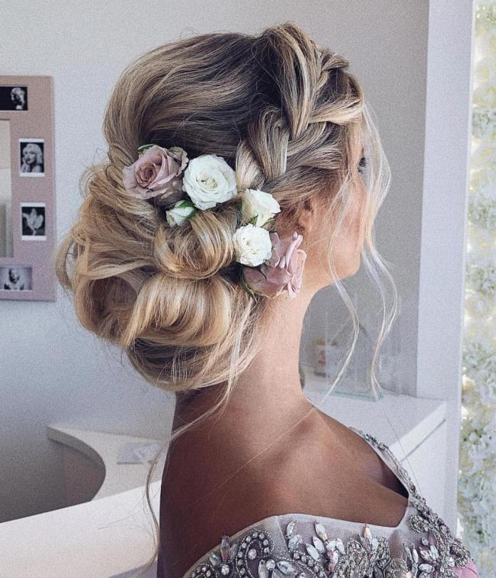 chunky-braid-and-rolled-chignon 20 Eye-catching Updo Hairstyles To Make Your Day