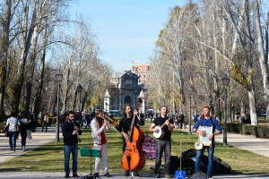 Street musicians performing Madrid