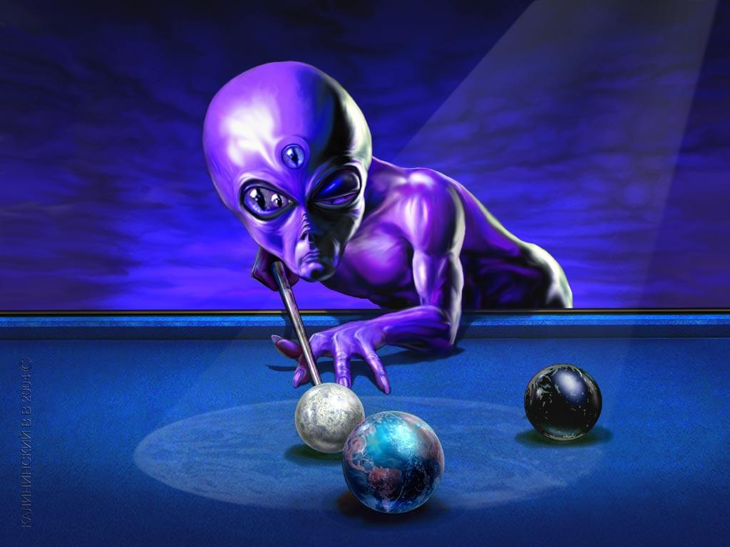 Alien playing pool