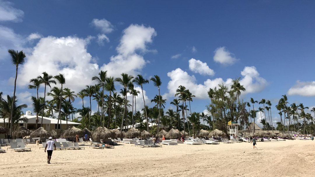 View of Paradisus Punta Cana as seen from the water's edge of Bavaro Beach.