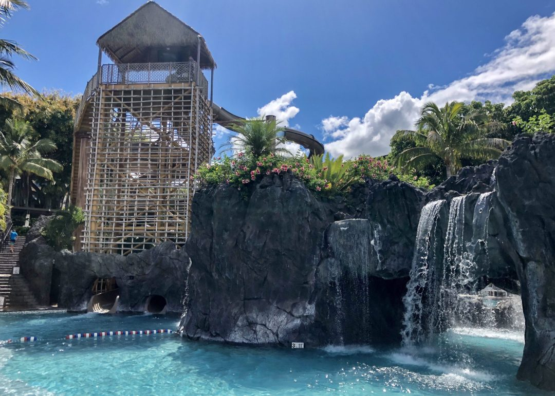 Waterfalls and waterslides at the Nalu Adventure Pool at Wailea Beach Resort by Marriott