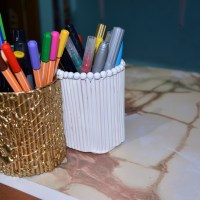 DIY - Pencil holders with straws