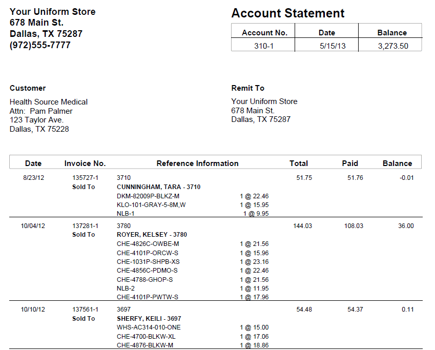 account statement report the uniform solution