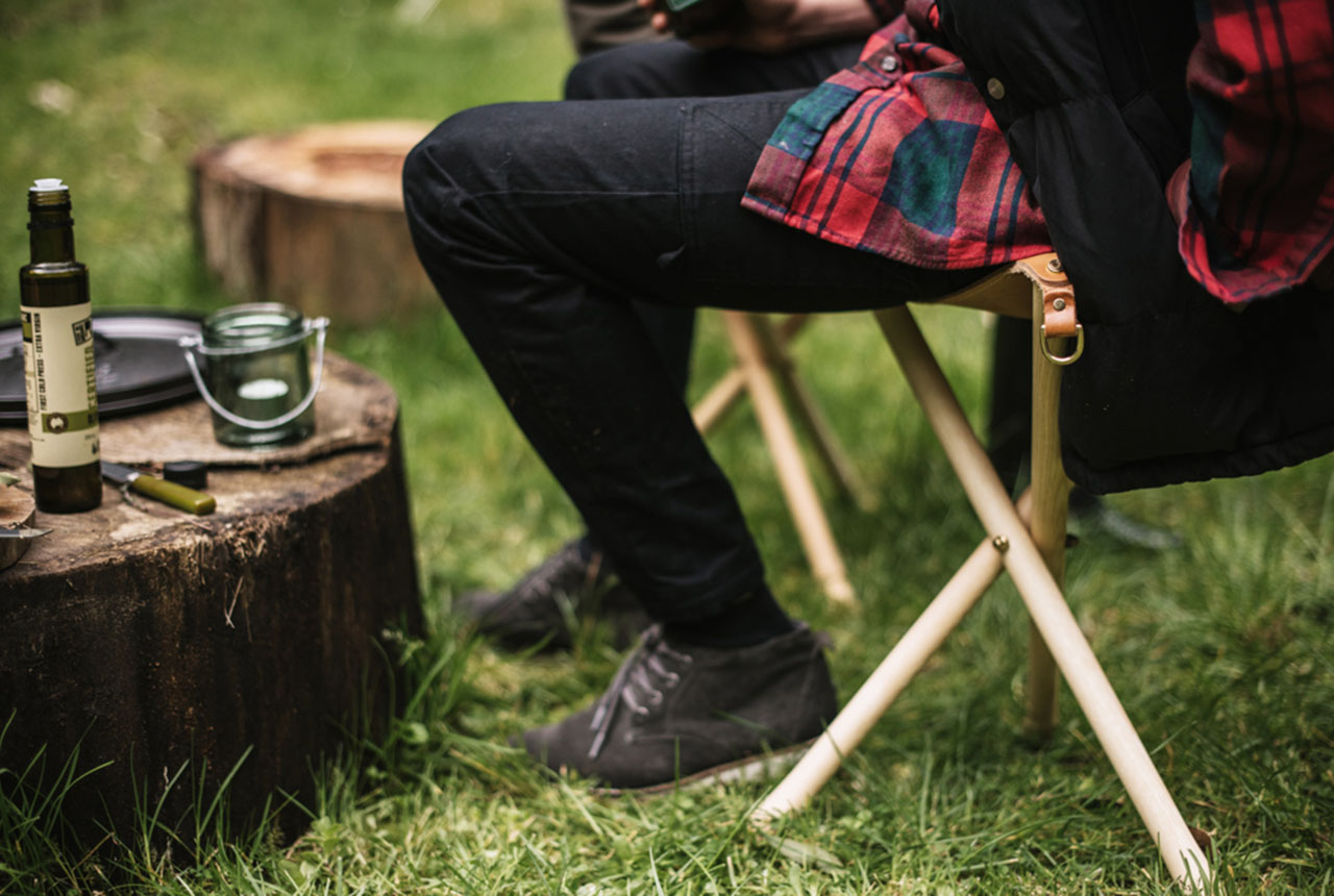 homecamp hipster camping glamping leather stool