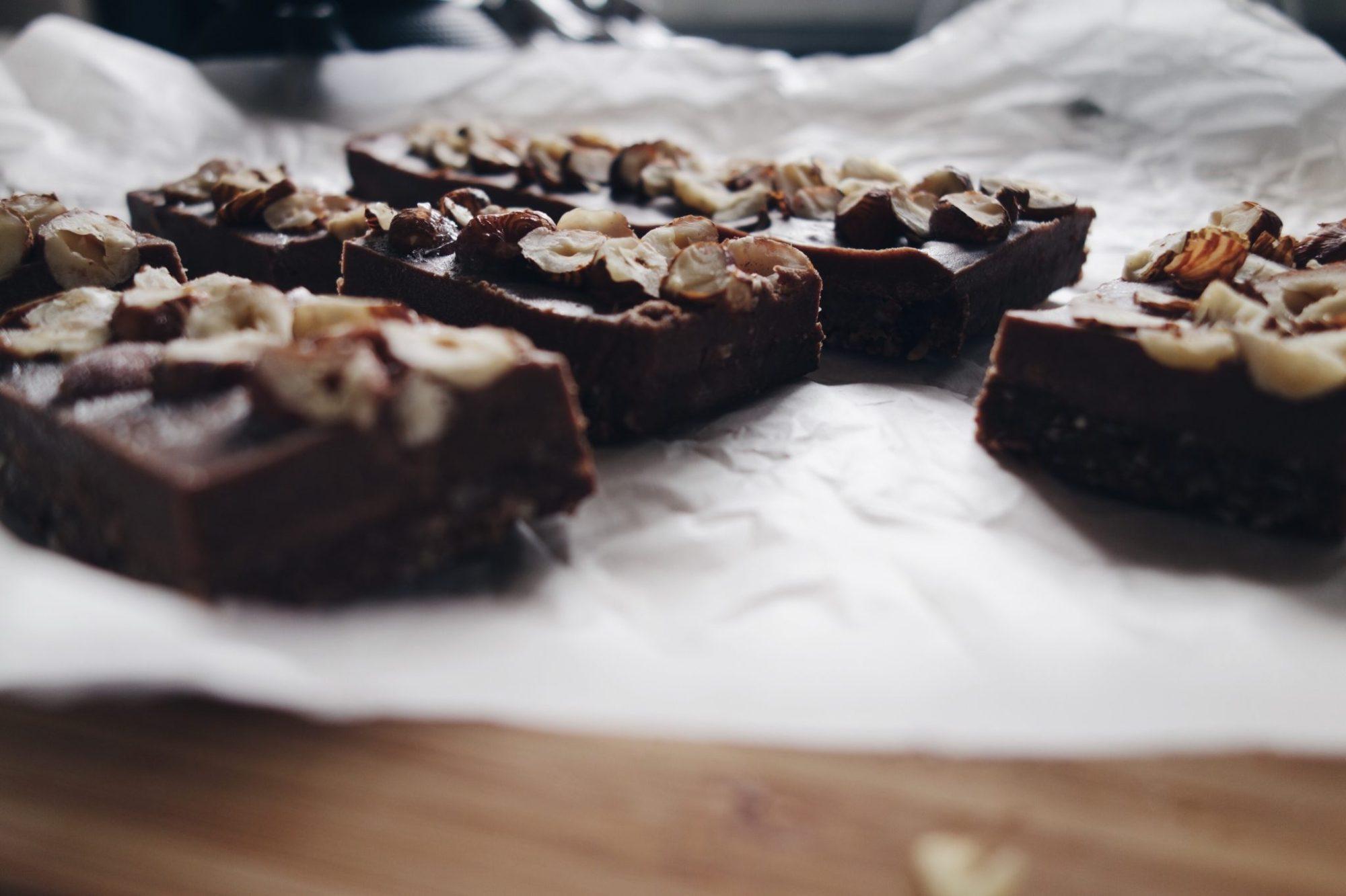 Raw Nutella Hazelnut Brownie Slice Little Bird The Unbakery App Megan May