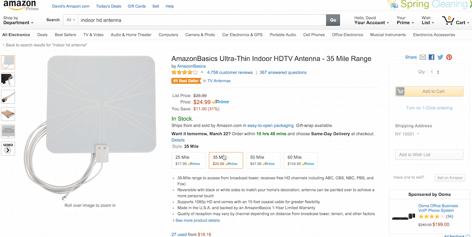 Amazon Indoor HD Antenna