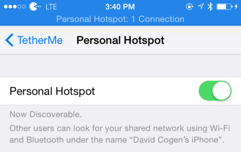 Personal Hotspot Connected