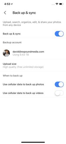 Turn on Backup and Adjust Settings